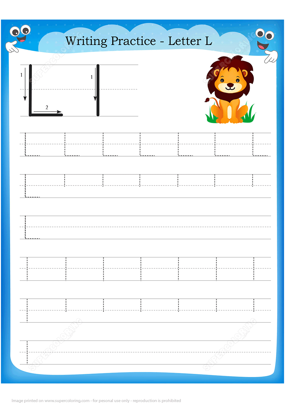 Letter L Is For Lion Handwriting Practice Worksheet