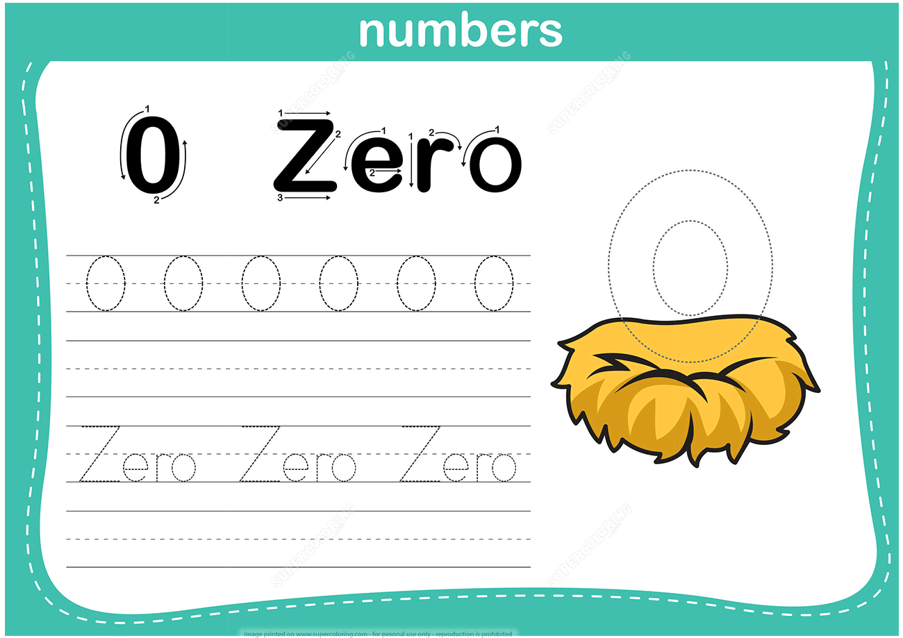 Number 0 Tracing Worksheet