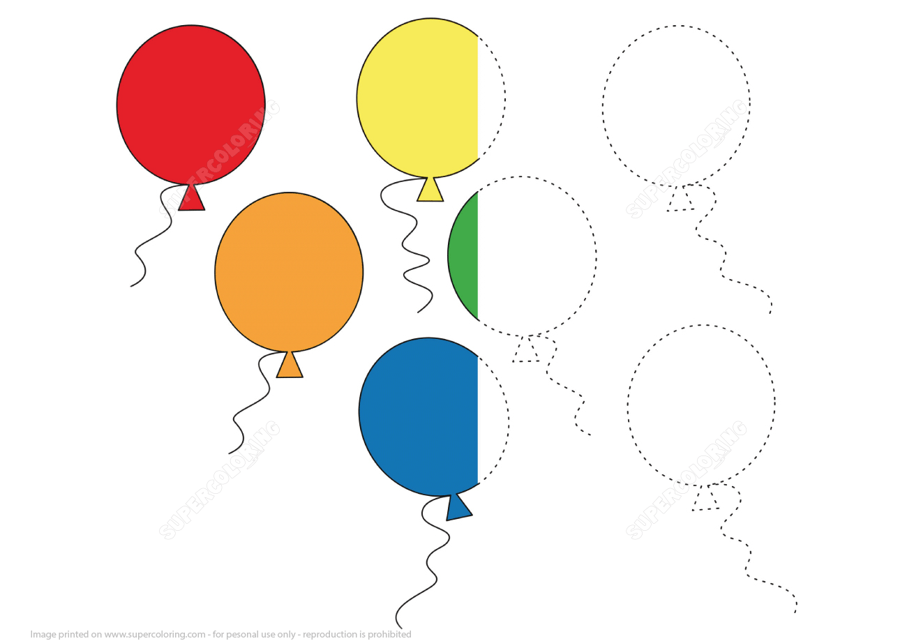 Trace And Color Balloons