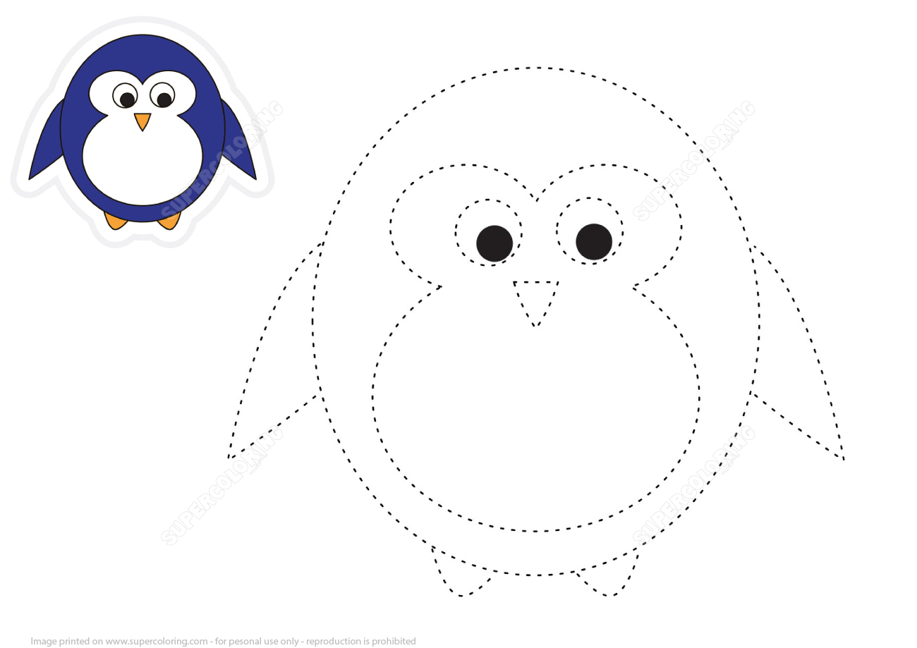 Trace And Color Cartoon Penguin