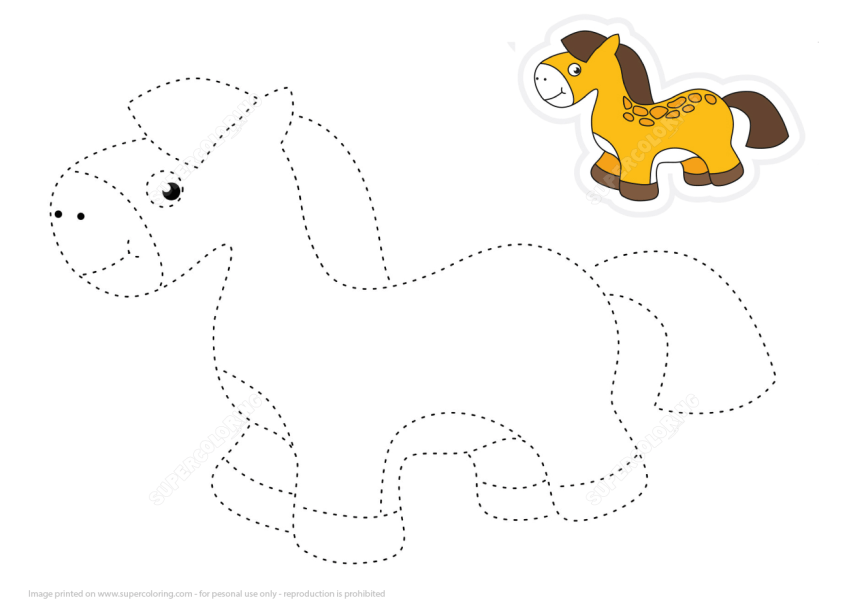 Trace and Color Cartoon Toy Horse   Free Printable Puzzle Games Coloring pages