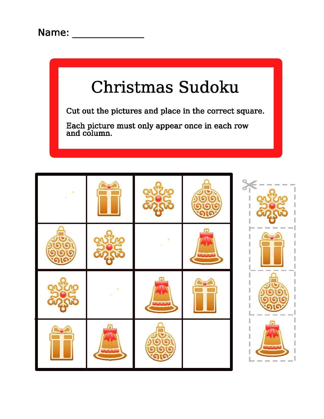 Christmas Easy Picture Sudoku Worksheet
