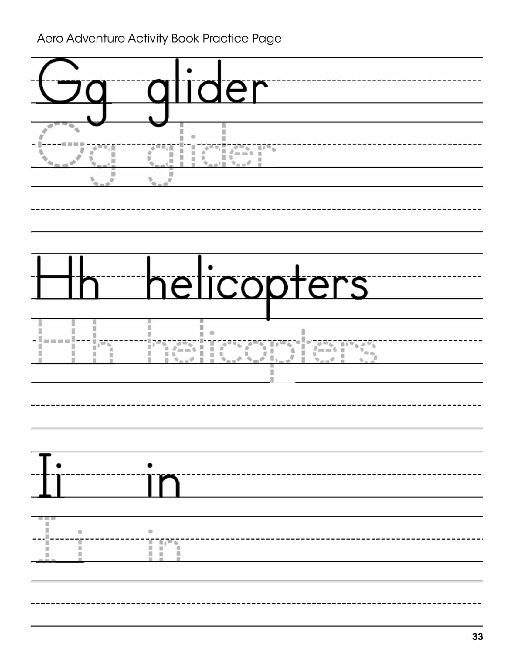 G H I Letters Handwriting Worksheet