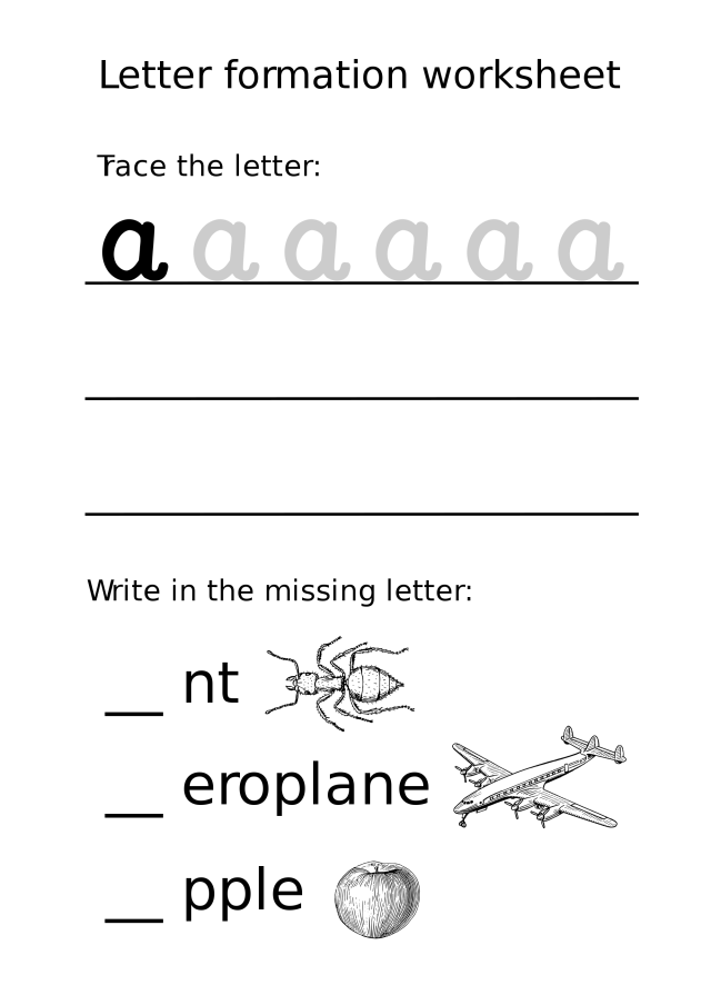 Letter a Lowercase Formation Worksheet  Free Printable Puzzle Games