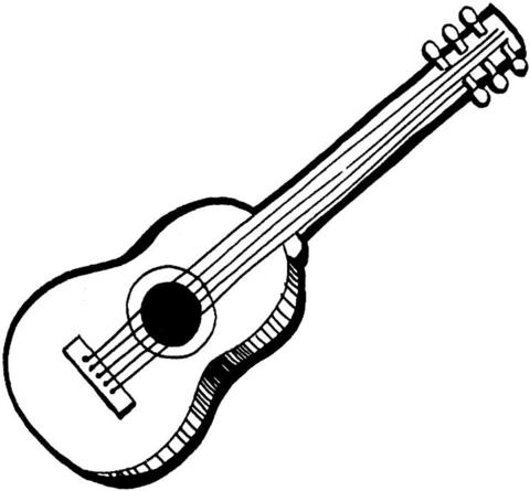 acoustic guitar coloring page supercoloring com