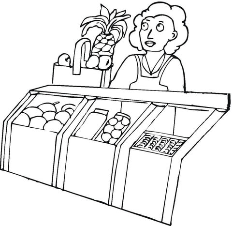 seller in the grocery shop coloring page