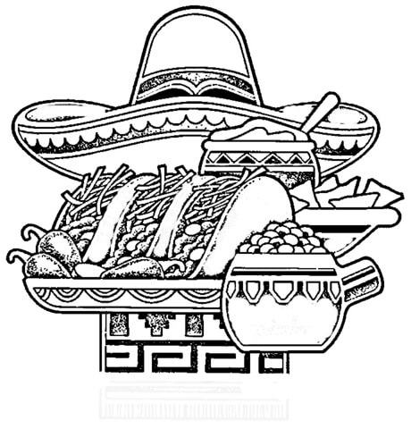 mexican national food coloring page supercoloring com