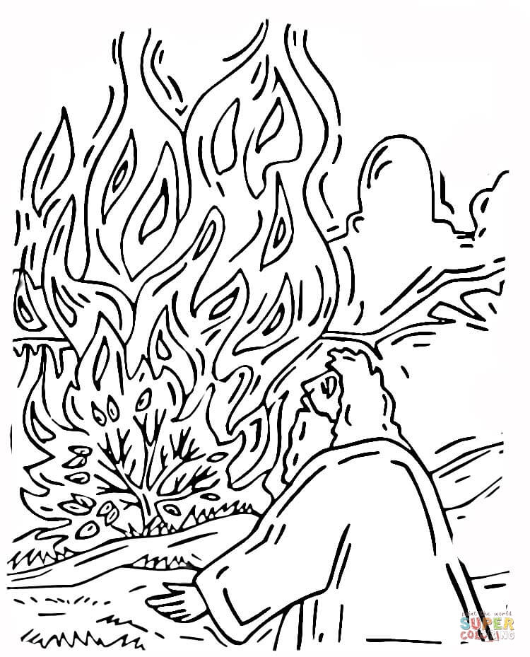 moses and burning bush coloring online super coloring