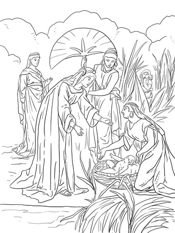 Finding Of Moses Coloring Page