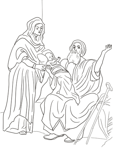 Baby Jesus In The Temple Coloring Page