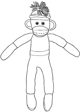 Christmas Sock Monkey Coloring Page