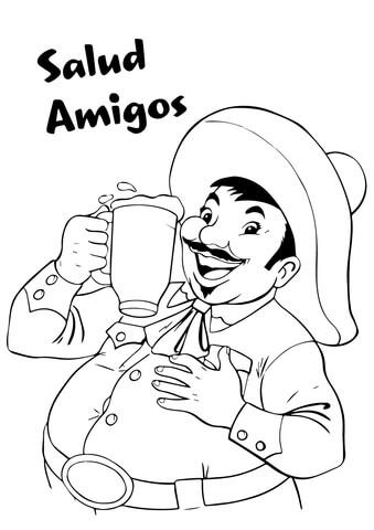 Salud Amigos Coloring Page