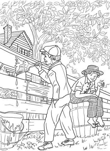 Tom Sawyer And Whitewashing The Fence Coloring Page