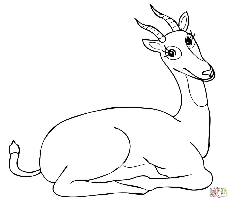 Funny Uganda Kob Antelope Coloring Online