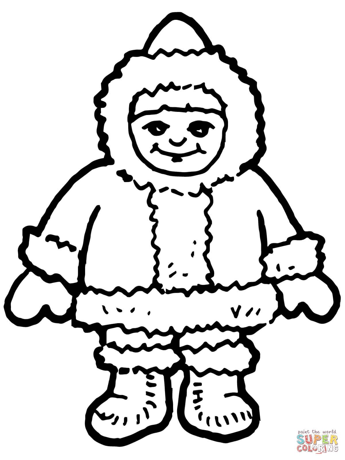Eskimo Coloring Page Template