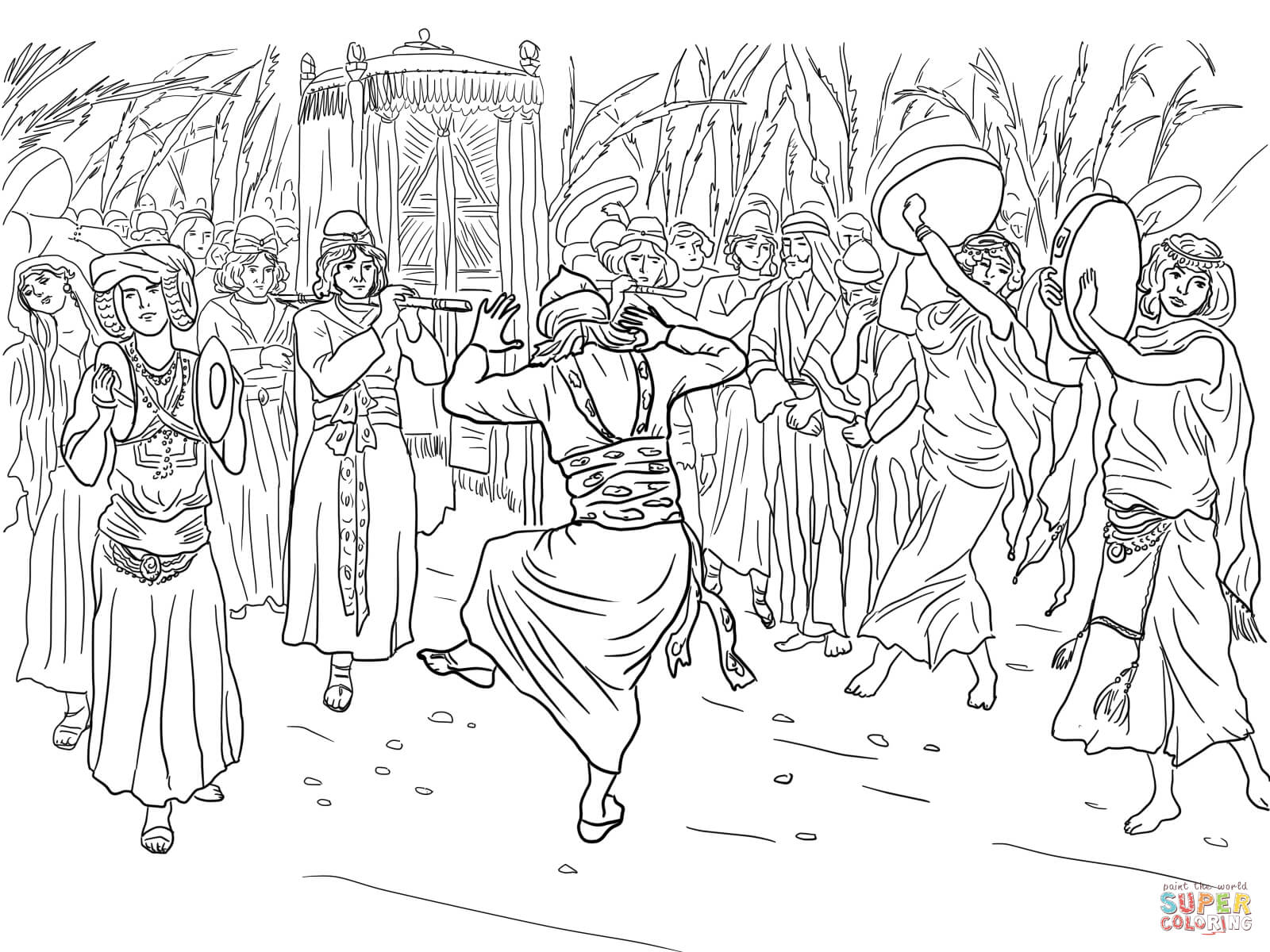 King david dancing before the ark of the covenant coloring online
