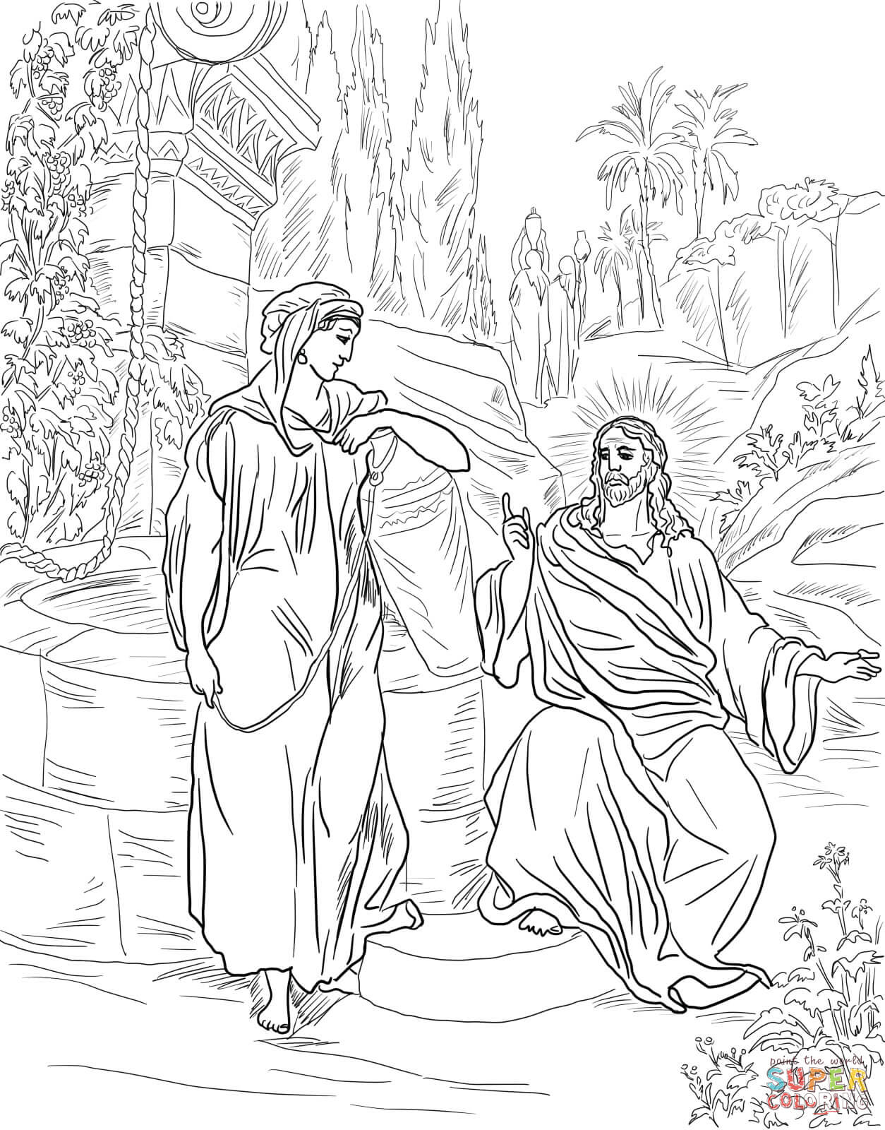 Jesus And The Samaritan Woman At The Well Coloring Online