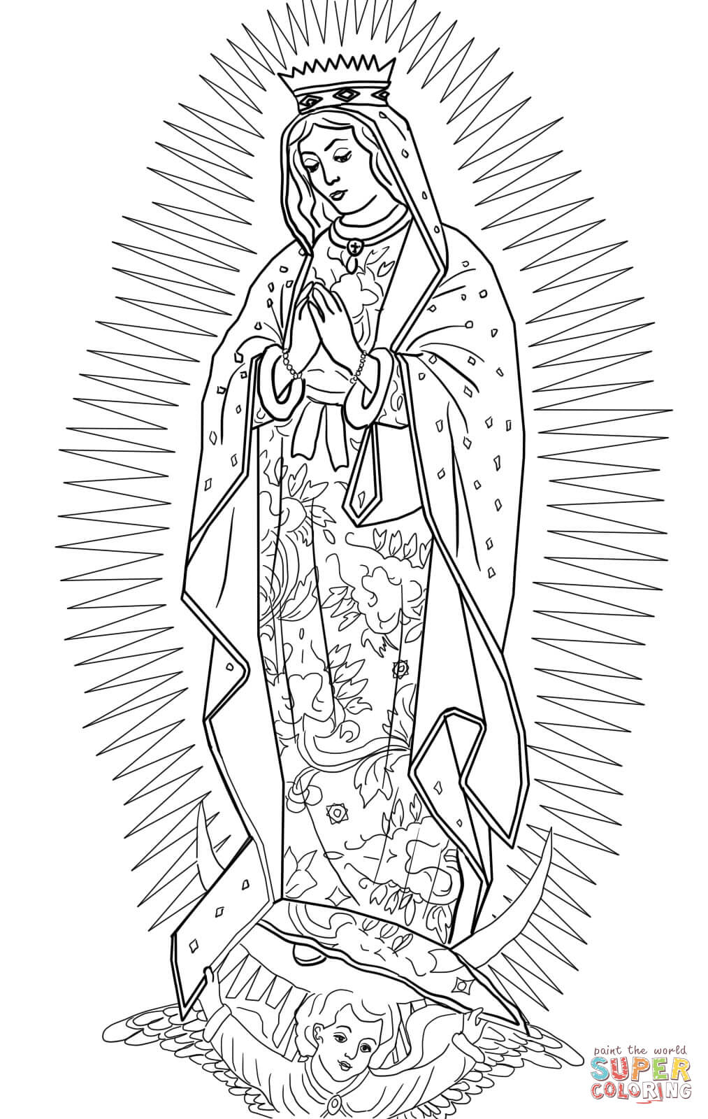 coloring virgin mary drawing coloring pages