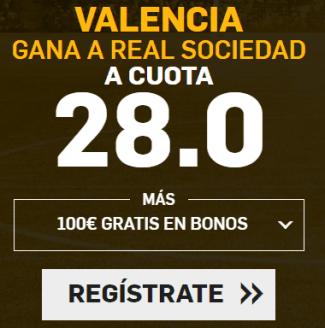 Supercuota Betfair la Liga Valencia - Real Sociedad