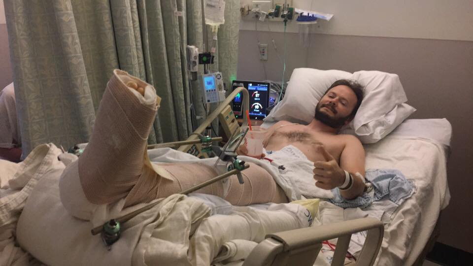 Matt in the hospital after a motorcycle wreck