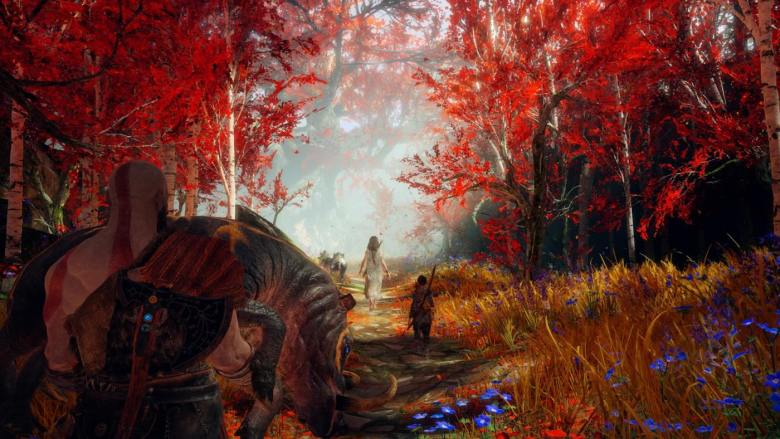 God of War Kratos and Atreyus Entering Witch's Woods