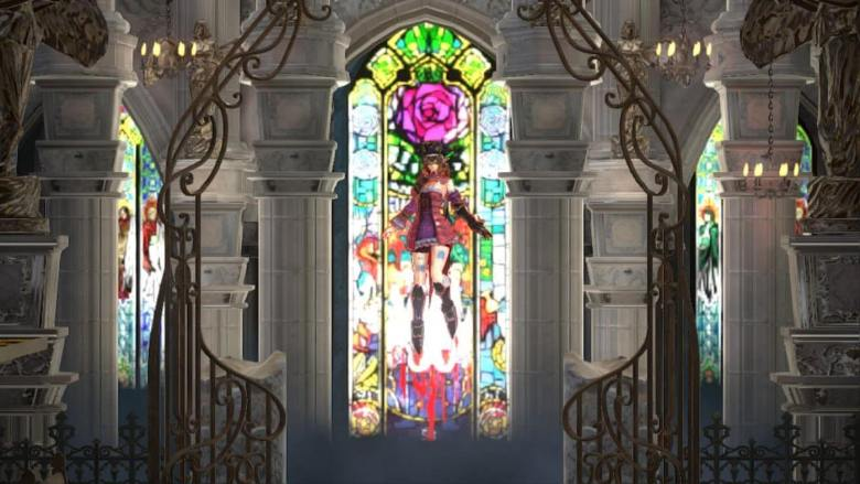 Miriam in front of Stained Glass Bloodstained