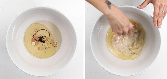 Liquid ingredients for vegan cupcakes in a bowl