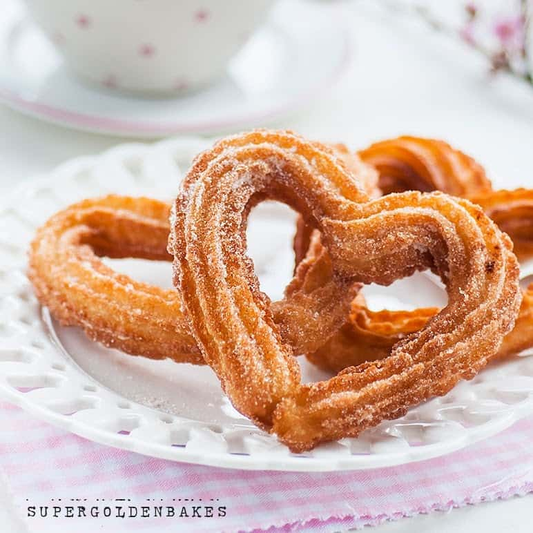 Heart Shaped Churros With Chocolate Sauce