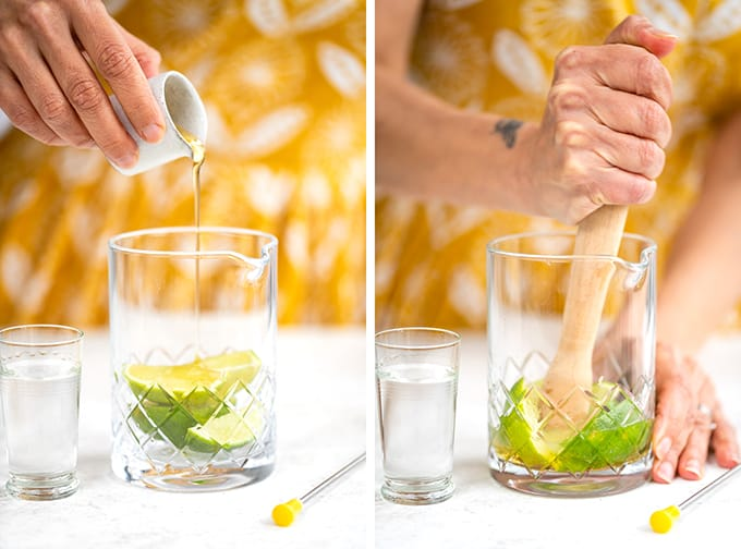Preparing a Beergarita collage - muddling limes with agave syrup