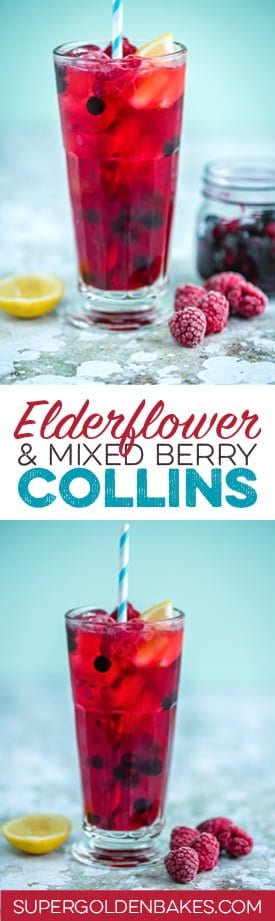 Elderflower and mixed berry gin Collins cocktail | Supergolden Bakes