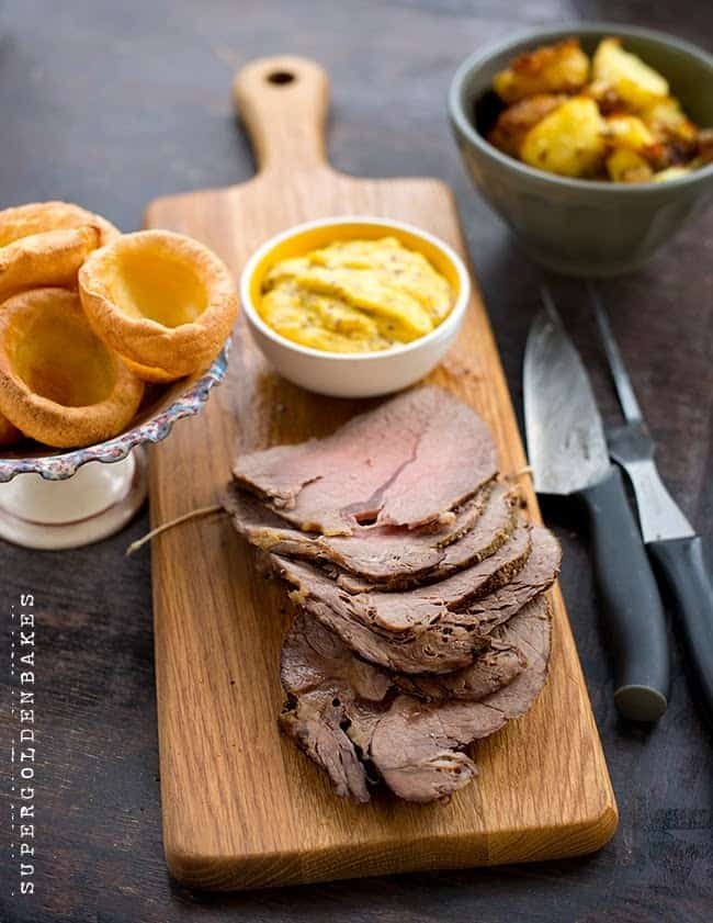Beef roast with mustard aoili and balsamic potatoes