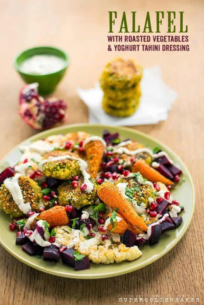 Falafel with roasted vegetables & yoghurt tahini sauce