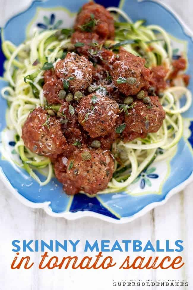 Low calorie turkey meatballs with courgetti (zoodles)