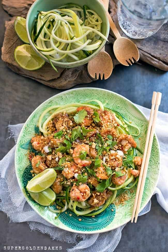 Pad Thai Recipe. An absolutely delicious 'skinny' take on Pad Thai with spiralized courgette (zucchini) noodles. Quick, easy and delicious.
