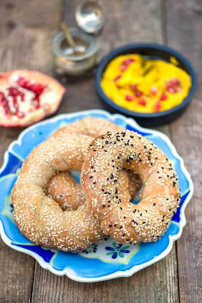 Simit and carrot hummus