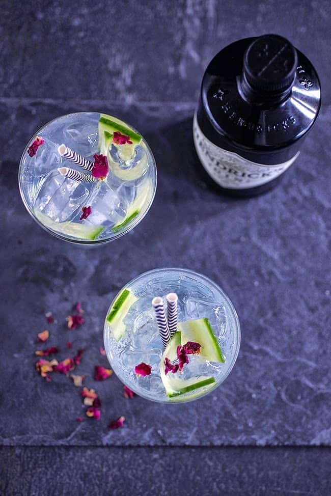 This 'skinny' gin and tonic comes in at 55 calories and contains cucumber and rosewater for a refreshing low calorie cocktail.