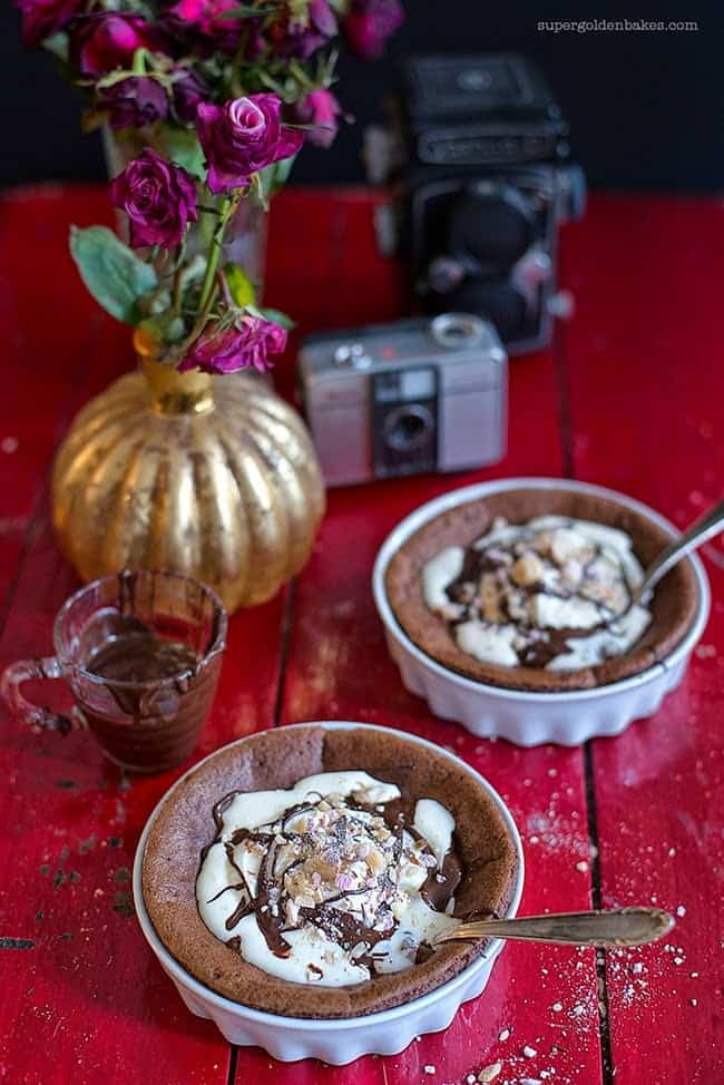 Easy chocolate soufflés for Valentine's Day