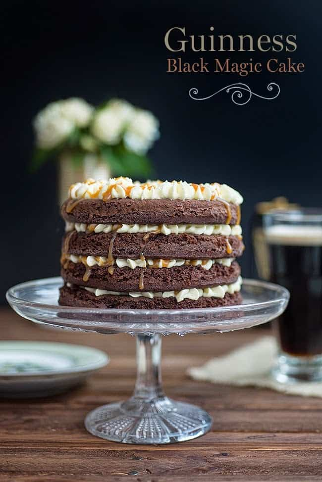 Guinness Black Magic Cake with ermine frosting and whiskey caramel - perfect for St. Patrick's day! | Supergolden Bakes