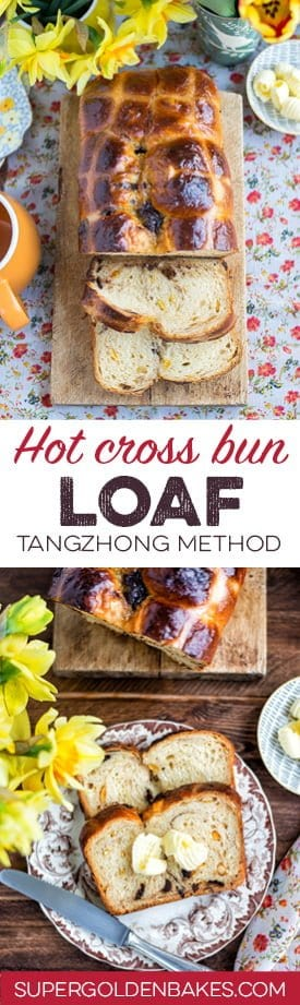 Orange and chocolate hot cross bun loaf using the water roux (tangzhong) method