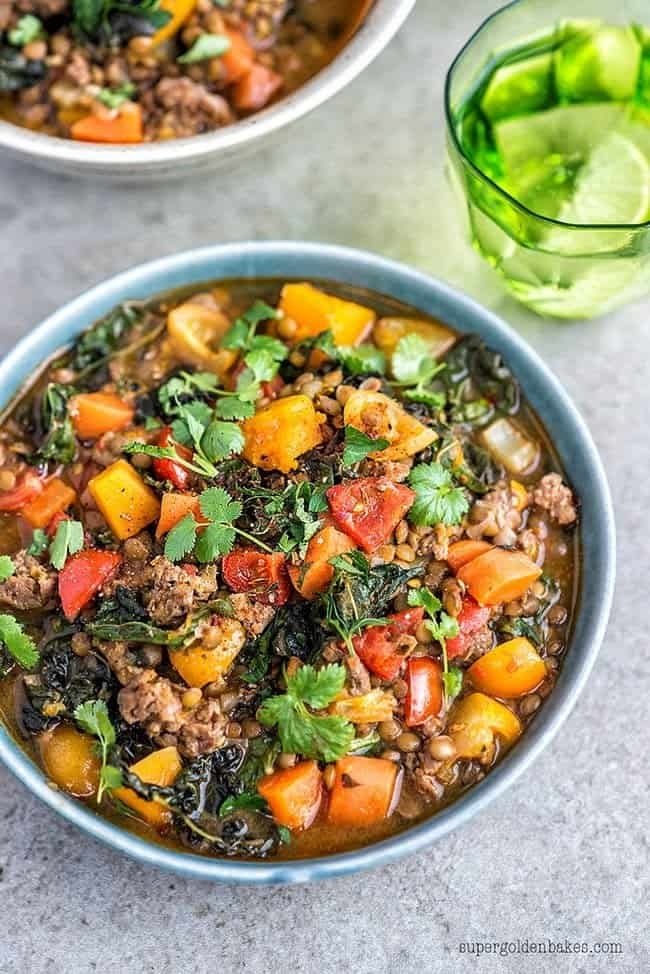 This lamb, lentil and squash stew is great for using up all the odds and ends in the fridge and freezer. Simply leave out the meat for a vegetarian version.