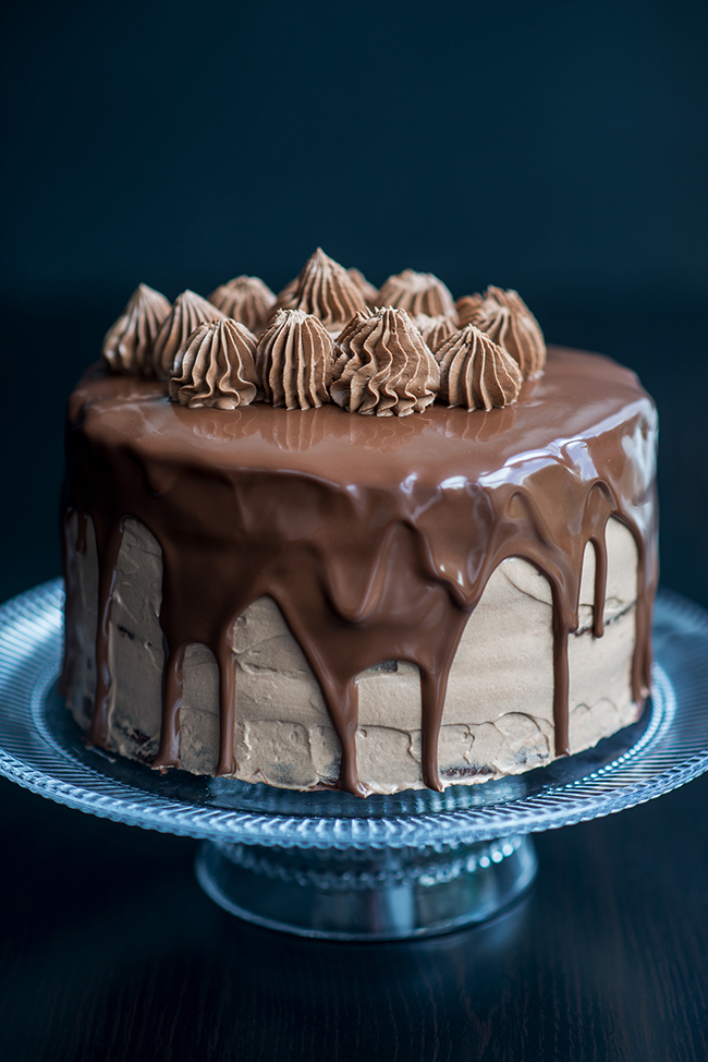 The ultimate chocolate Nutella layer cake, with three fudgy layers of chocolate sponge, whipped Nutella filling and glossy rich chocolate glaze.