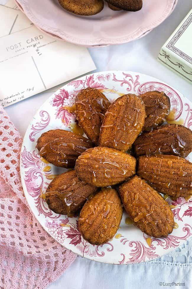 Pumpkin Spice Madeleines with Salted Caramel