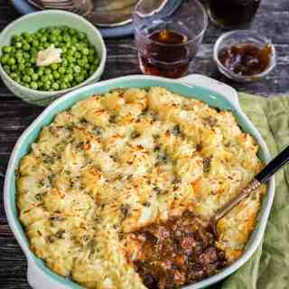 A rich and delicious cottage pie made with beef braising steak rather than mince. The blue cheese mash topping is totally addictive!
