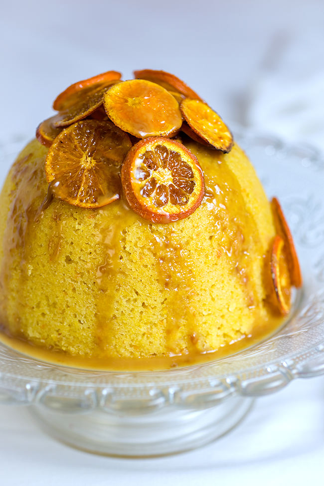 Slow Cooker Orange and Almond Steamed Pudding with Toffee Sauce