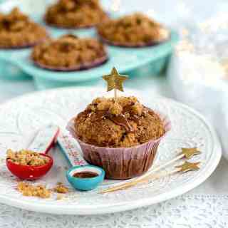 These fragrant spiced ginger, date and pecan muffins with streusel topping are perfect for breakfast or an afternoon pick-me-up with a cup of tea or coffee.