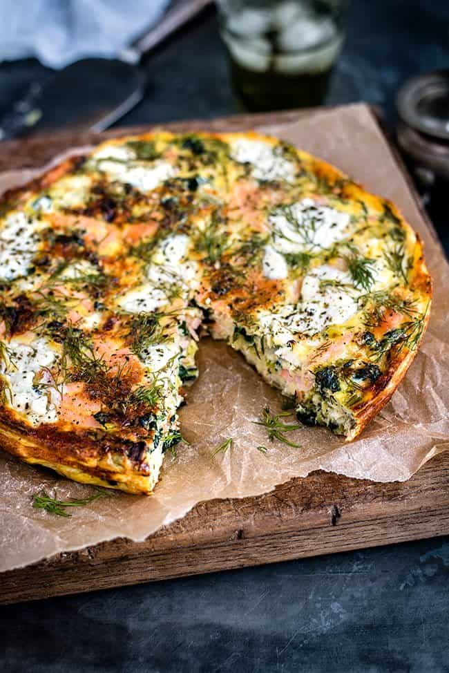 Cottage cheese, kale and smoked salmon frittata