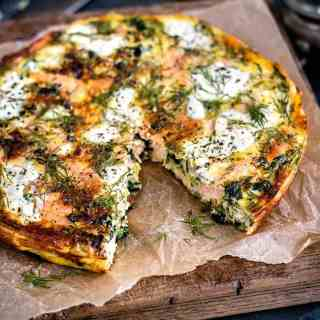 Cottage cheese kale and smoked salmon frittata - packed with flavour but under 200 calories per slice
