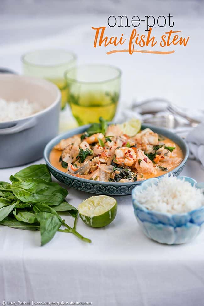 Bowl of Thai Fish Stew with rice served on the side