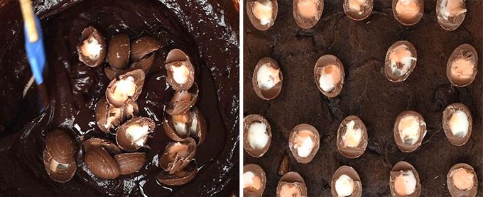 Making Cadbury's Creme Egg Brownies