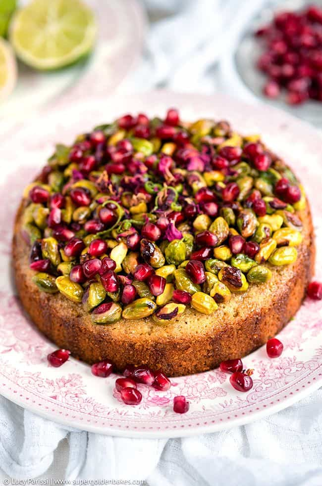 Pistachio and Lime Syrup Cake with Pomegranate Seeds